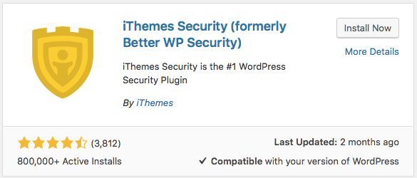 Ithemes security plugin install image with yellow shield logo