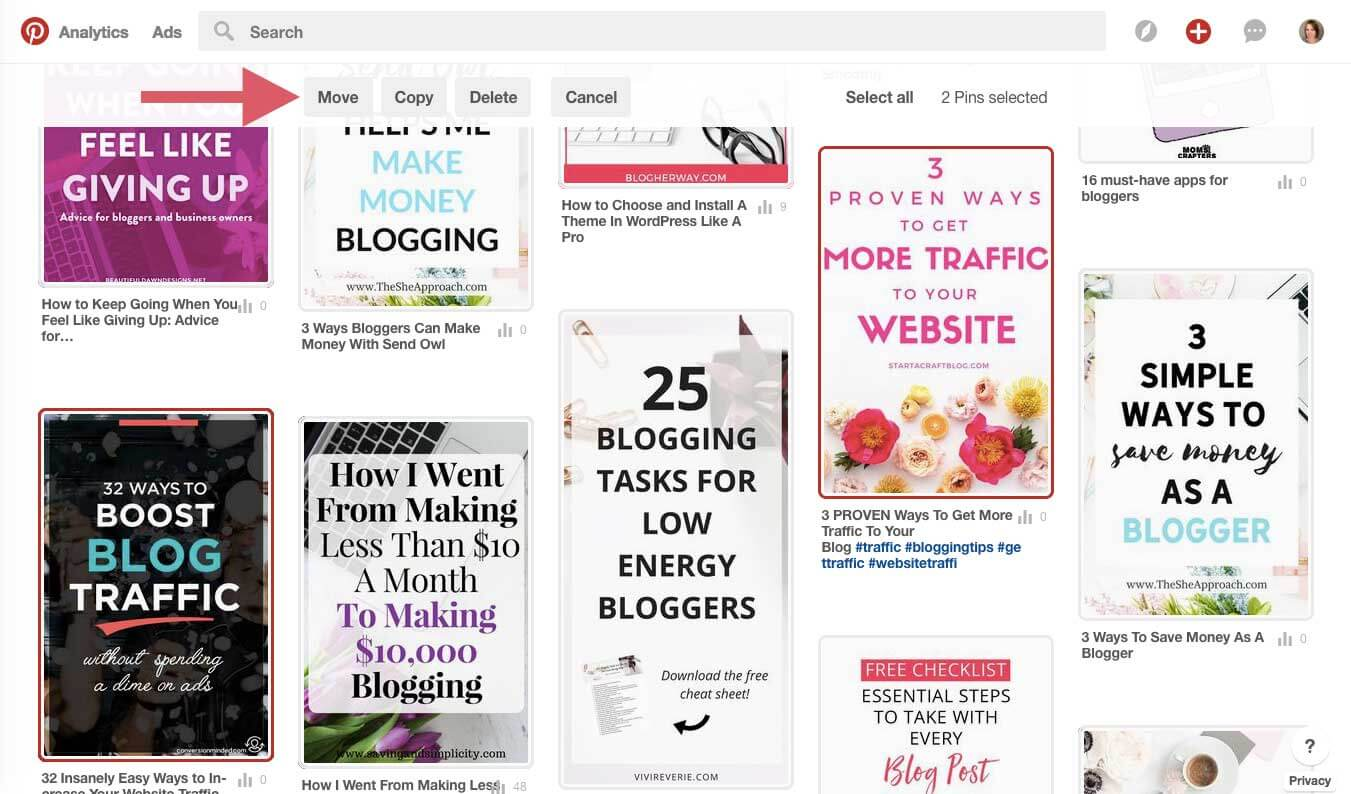 Pinterest board sections are a great way to organize your saved content. Organize your boards now to save time later when looking for that great article. #pinteresttips #bloggingtips