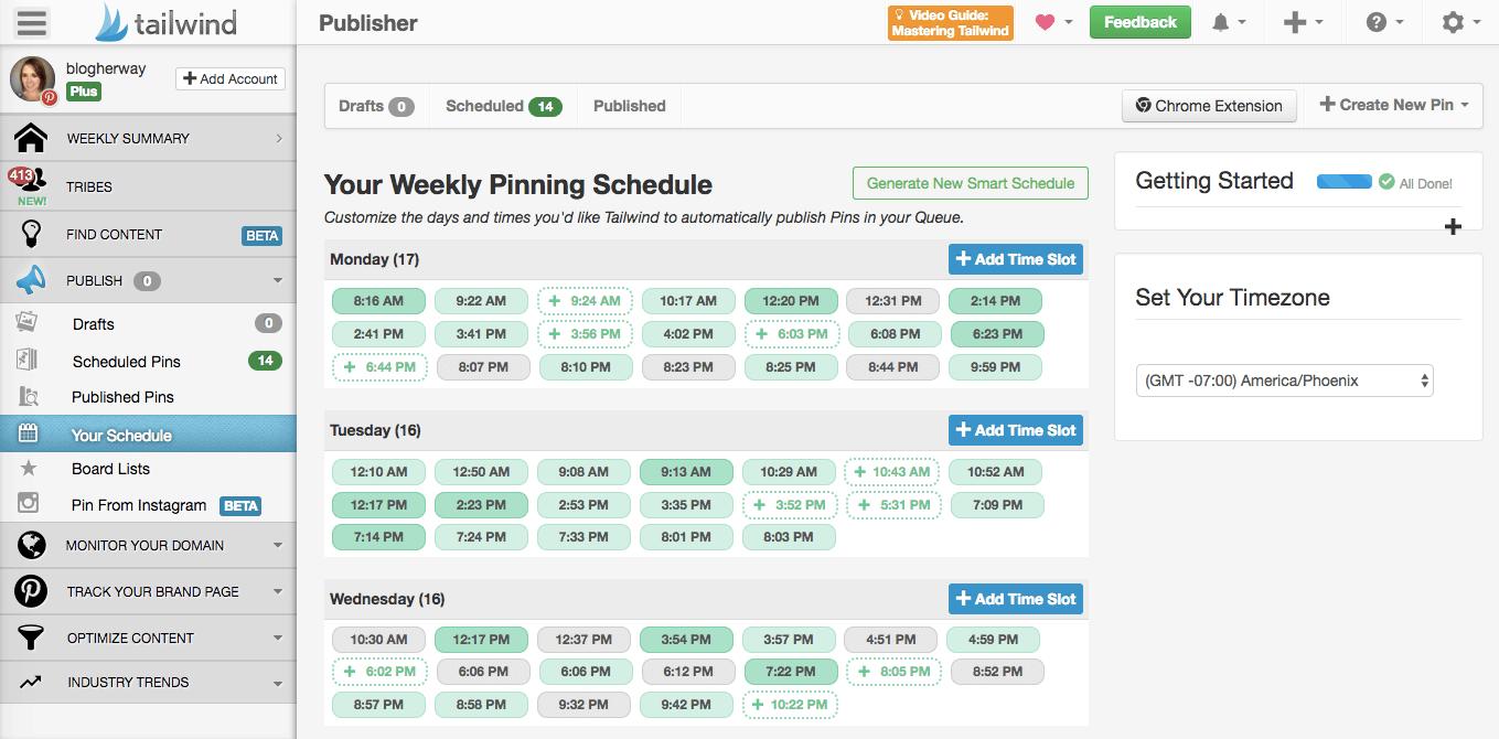 screenshot of tailwind smart schedule