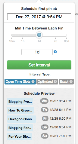 screenshot of how to set interval scheduling in Tailwind