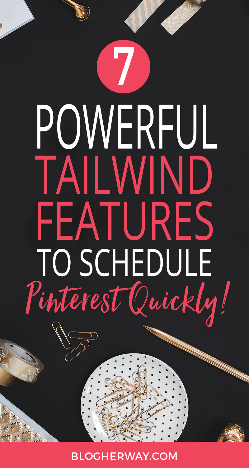 Styled desktop with black background and text overlay 7 powerful tailwind features to schedule pinterest quickly