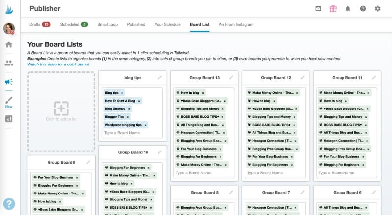 board lists Tailwind feature