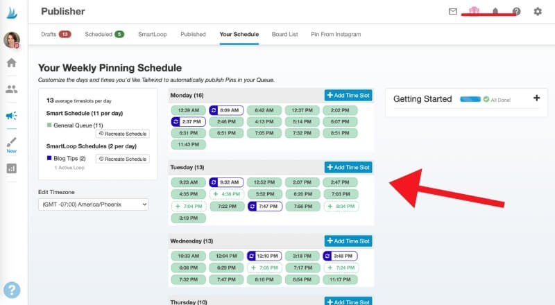 screenshot of tailwind feature smart schedule