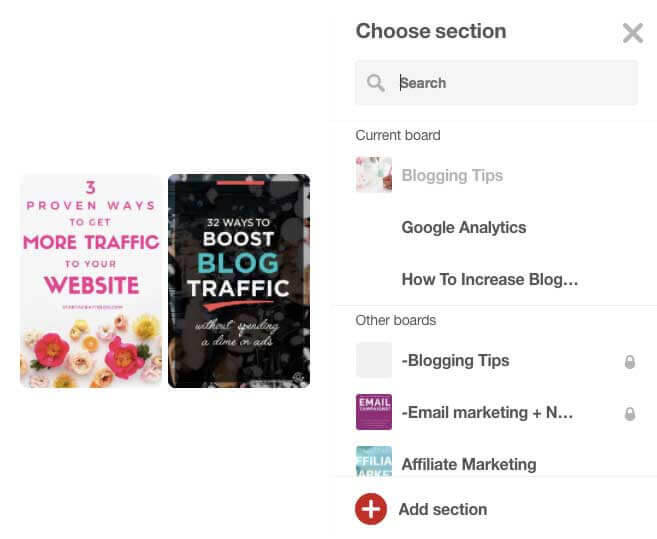 screenshot of How to use pinterest board sections