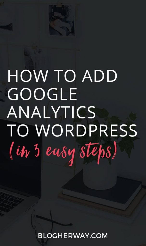 Desktop with black overlay and text How to add google analytics to wordpress in 3 easy steps