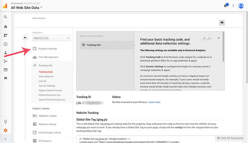 Screen shot on how to add google analytics to wordpress image 8