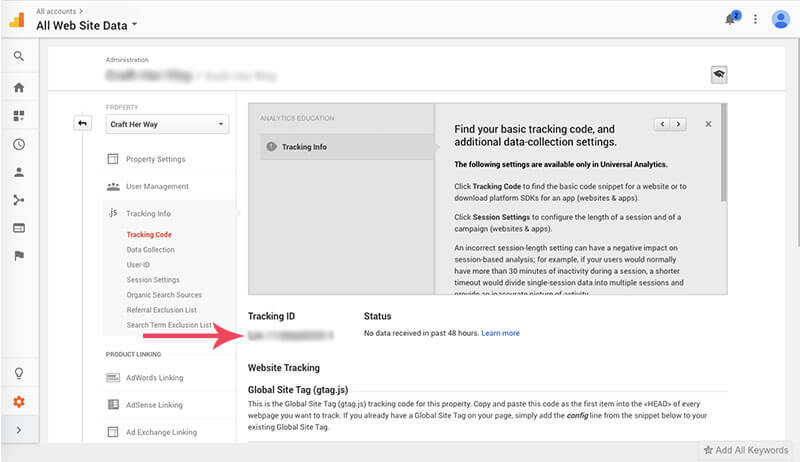 Screen shot on how to add google analytics to wordpress image 4