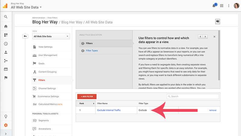 screenshot tutorial of how to create a filter in google analytics image 10