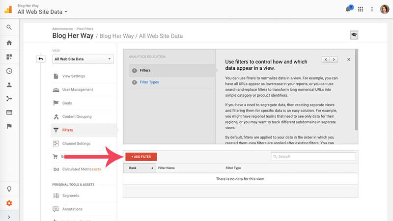 screenshot tutorial of how to create a filter in google analytics image 5