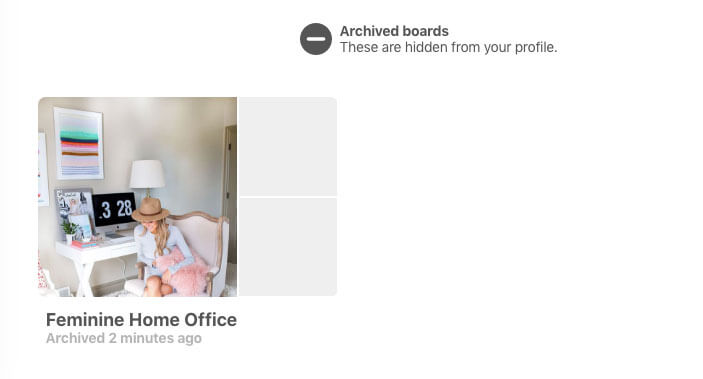screenshot from how to archive a pinterest board