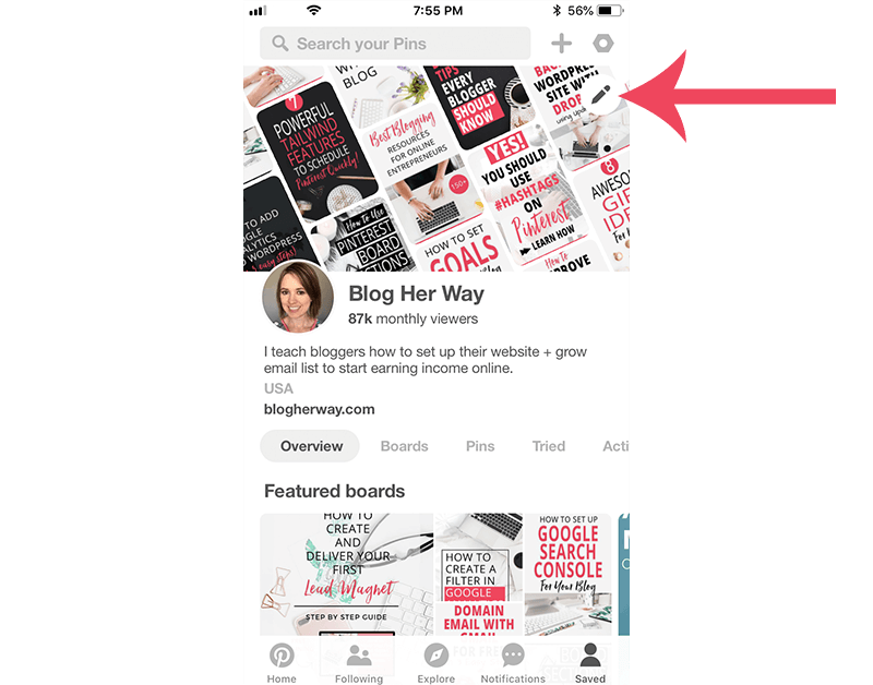 screenshot of new pinterest profile for how to change your profile cover photoo