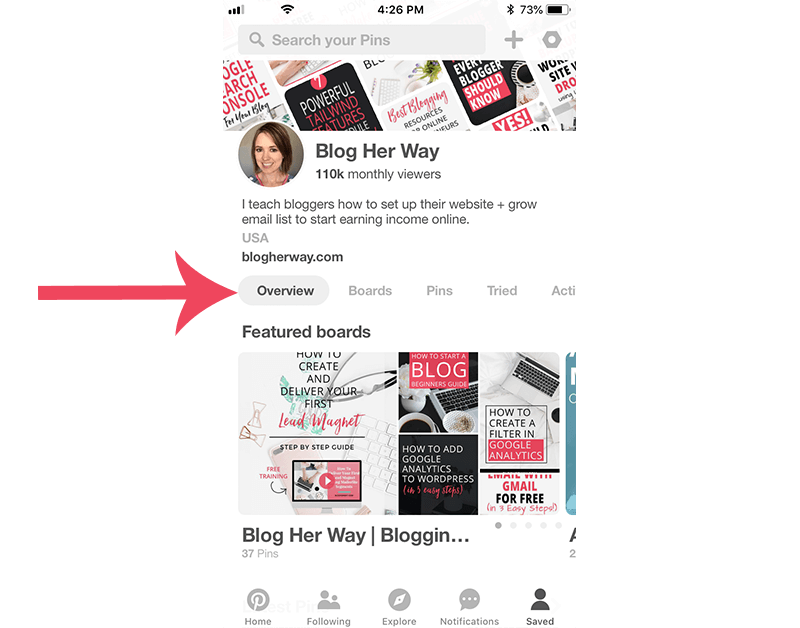 screenshot of new pinterest profile