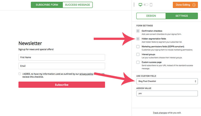 screenshot of how to create a gdpr compliant form in mailerlite