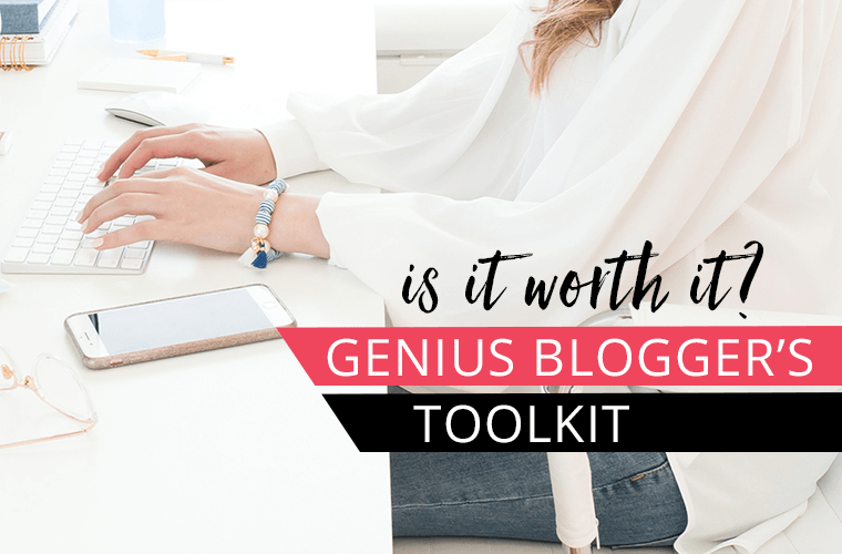 woman at computer typing on keyboard with text overlay Genius Blogger's Toolkit Is it worth it?