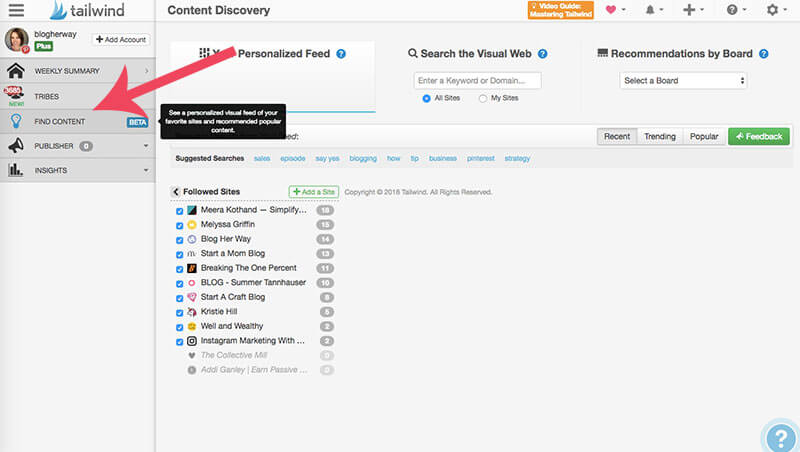 screenshot of tailwind's content discovery feature