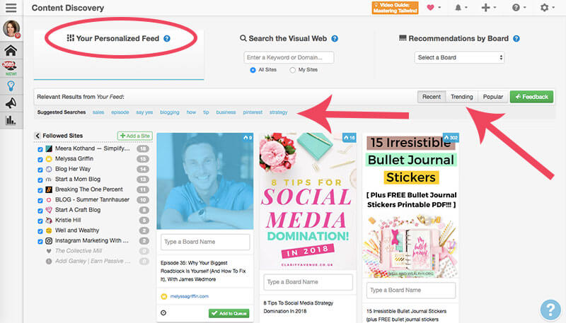 screenshot of tailwind's content discovery feature - how to create a personalized feed