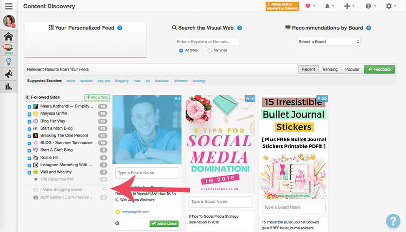 screenshot of tailwind's content discovery feature - understanding your personalized feed