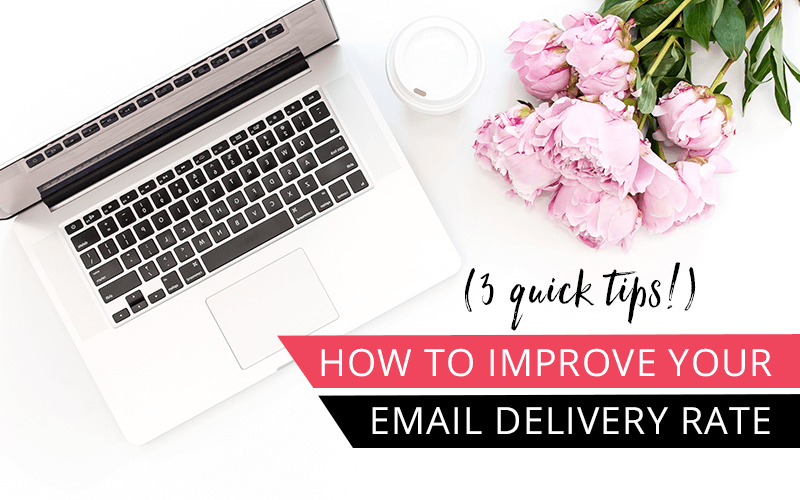 overhead view of computer and pink rose with text how to improve your email delivery