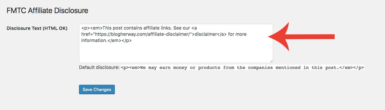 add affiliate disclaimer with plugin