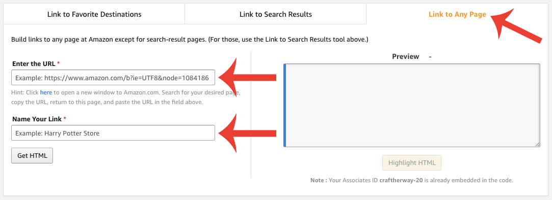 how to create a custom link in amazon
