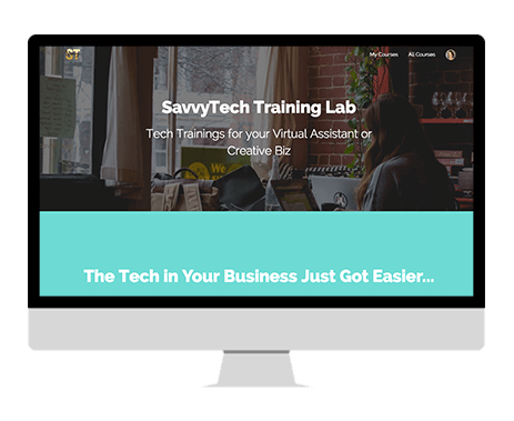 computer with image of sales page for savvy tech training lab