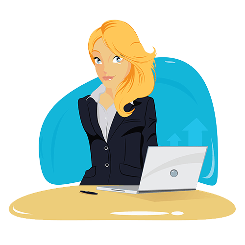 woman sitting at desk ready to start a blog