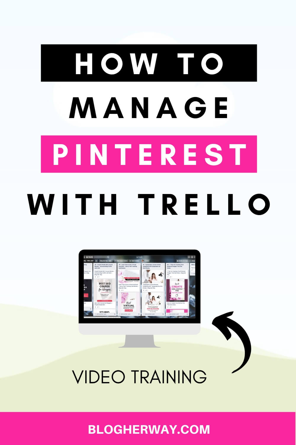 computer with text overlay how to manage pinterest with trello