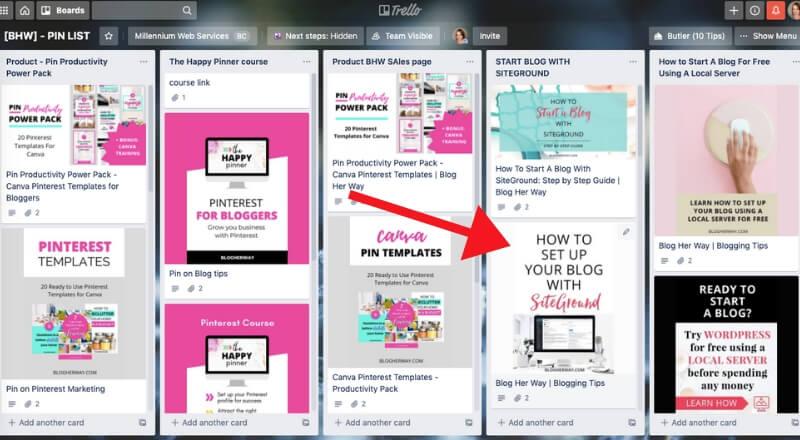 screenshot of trello board full of Pinterest pins