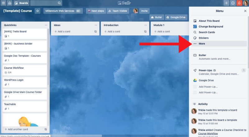 screenshot of how to create trello board template