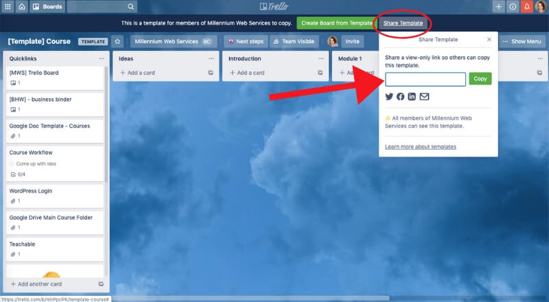 screenshot of how to share a trello board template