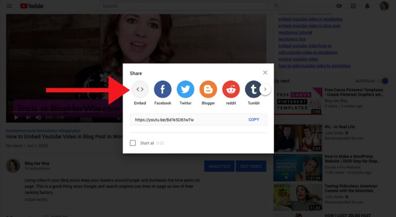 screenshot how to embed youtube video in wordpress