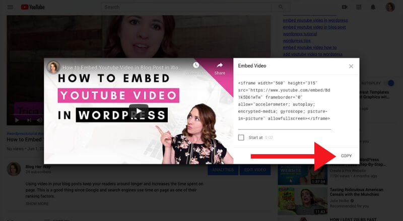 screenshot how to embed youtube video in wordpress blog post