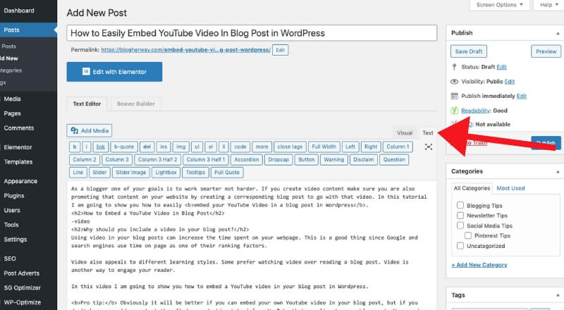 screenshot of how to embed youtube video in wordpress