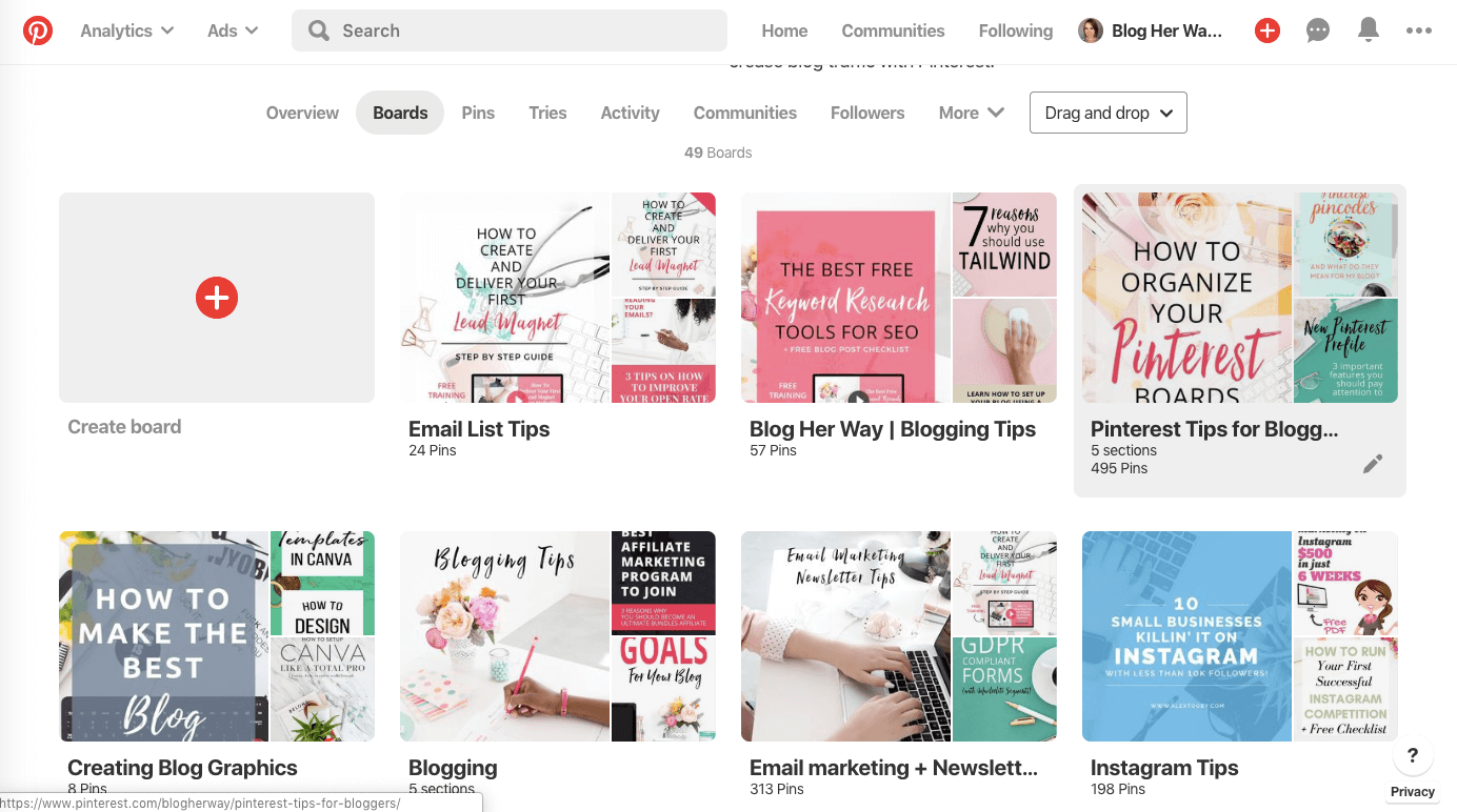 what is pinterest profile boards