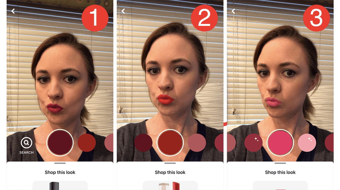 screenshot of pinterest lens feature trying on lipstick color