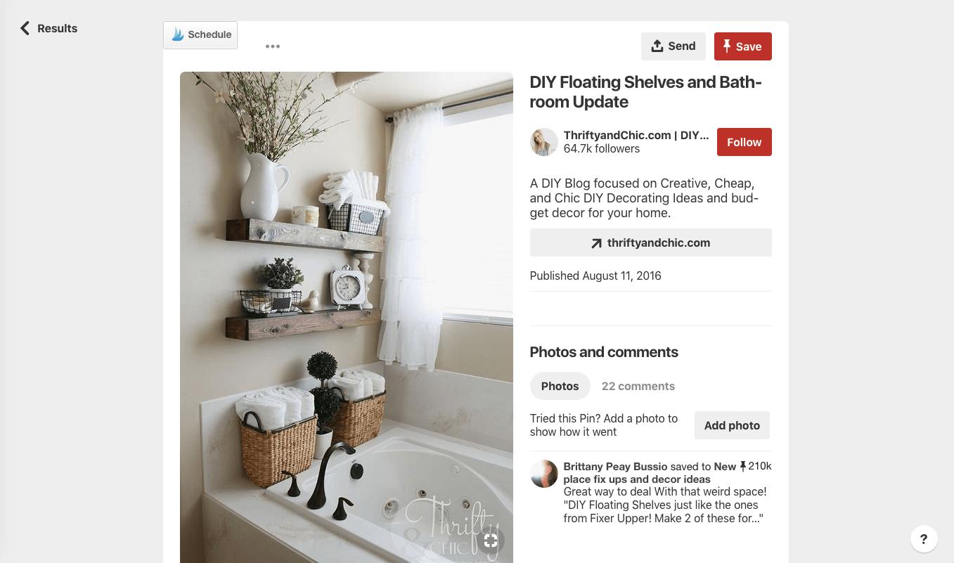 screenshot of pinterest visual search