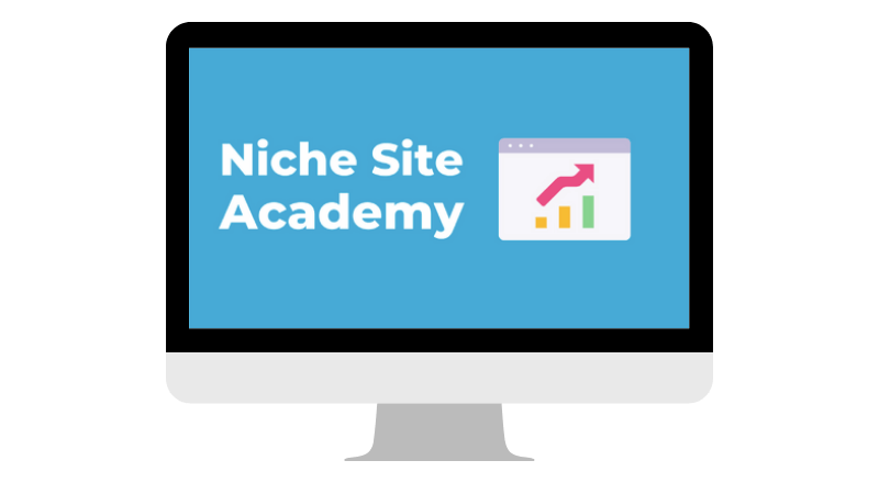 computer with text niche site academy course