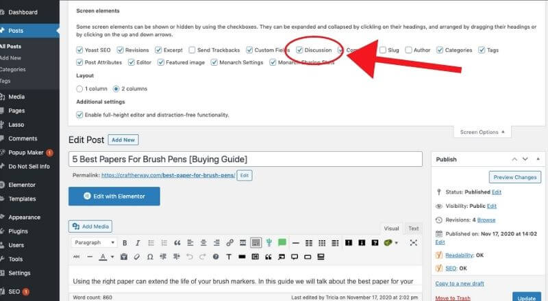 screenshot in wordpress of how to turn off comments