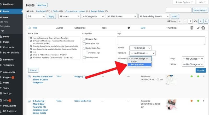 screenshot of how to turn off comments in bulk for wordpress