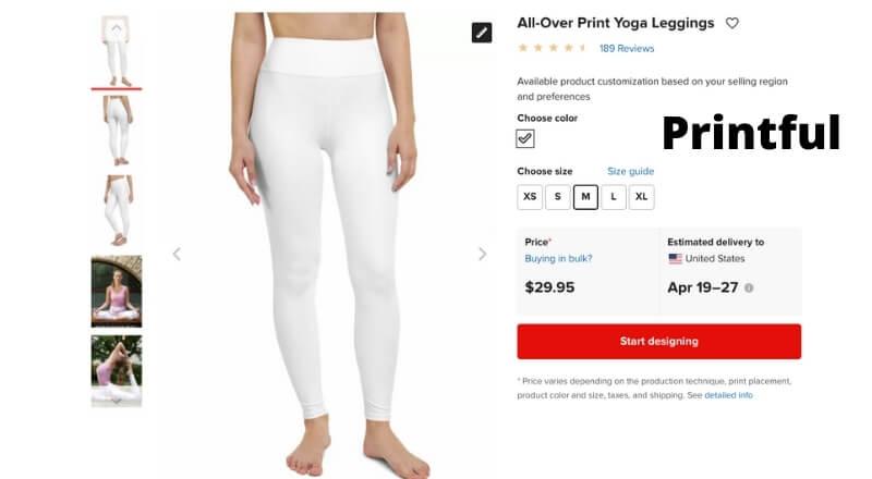 print on demand yoga pants Printful