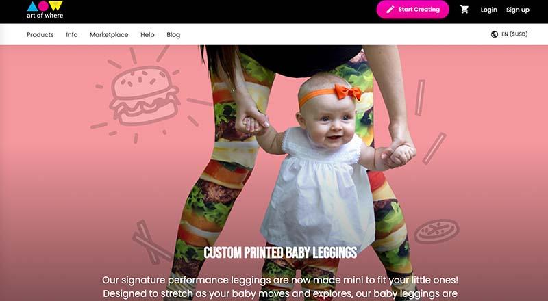 Art of Where print on demand baby leggings