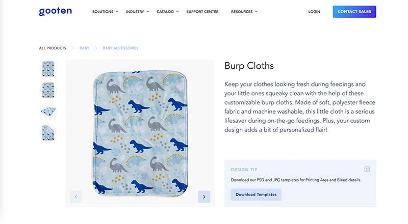 Gooten print on demand burp cloth
