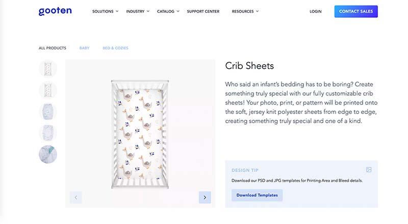 gooten print on demand crib sheet