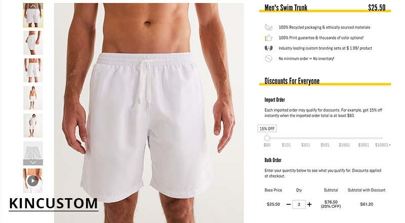 Kincustom print on demand men's swim trunk