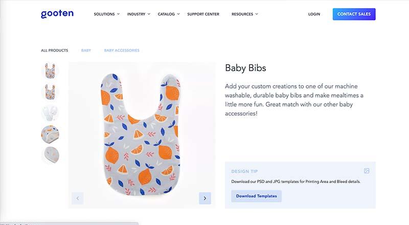 Gooten print on demand baby bib