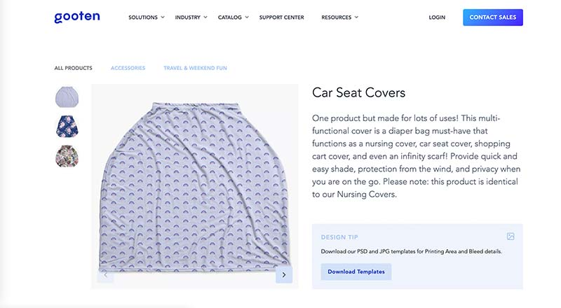 Gooten print on demand car seat cover