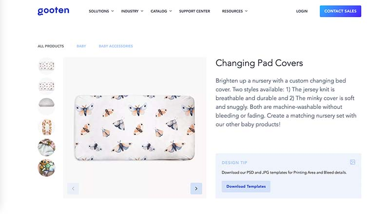 Gooten print on demand change pad cover