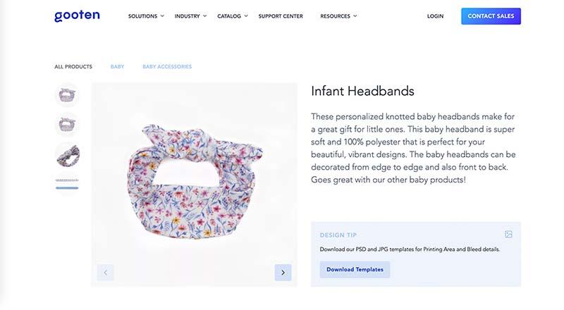 Gooten print on demand infant headband