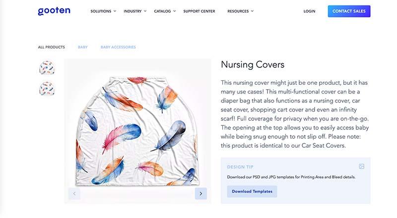 Gooten print on demand nursing cover