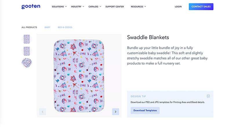 Gooten print on demand swaddle blanket